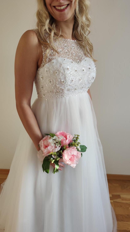 Svatební šaty s vysokým pasem - i těhotenské 36-40 - Obrázek č. 1