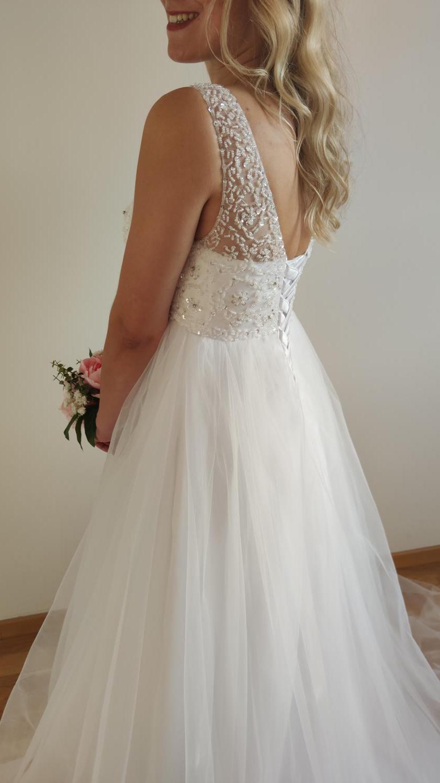 Svatební šaty s vysokým pasem - i těhotenské 36-40 - Obrázek č. 3