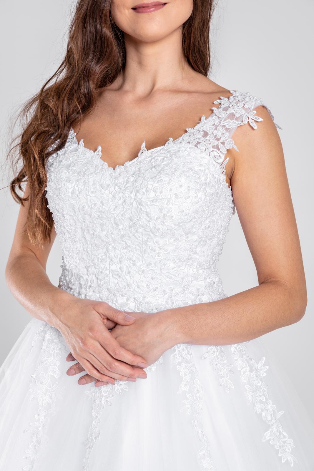 Něžné korzetové šaty s perličkami šněrovací 32-44 - Obrázek č. 1