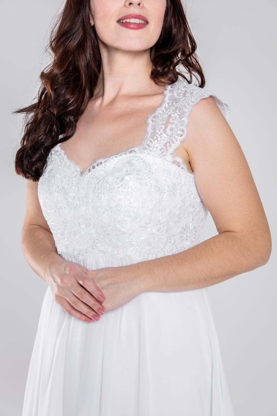Těhotenské svatební šaty na šněrování, 36-48 - Obrázek č. 1