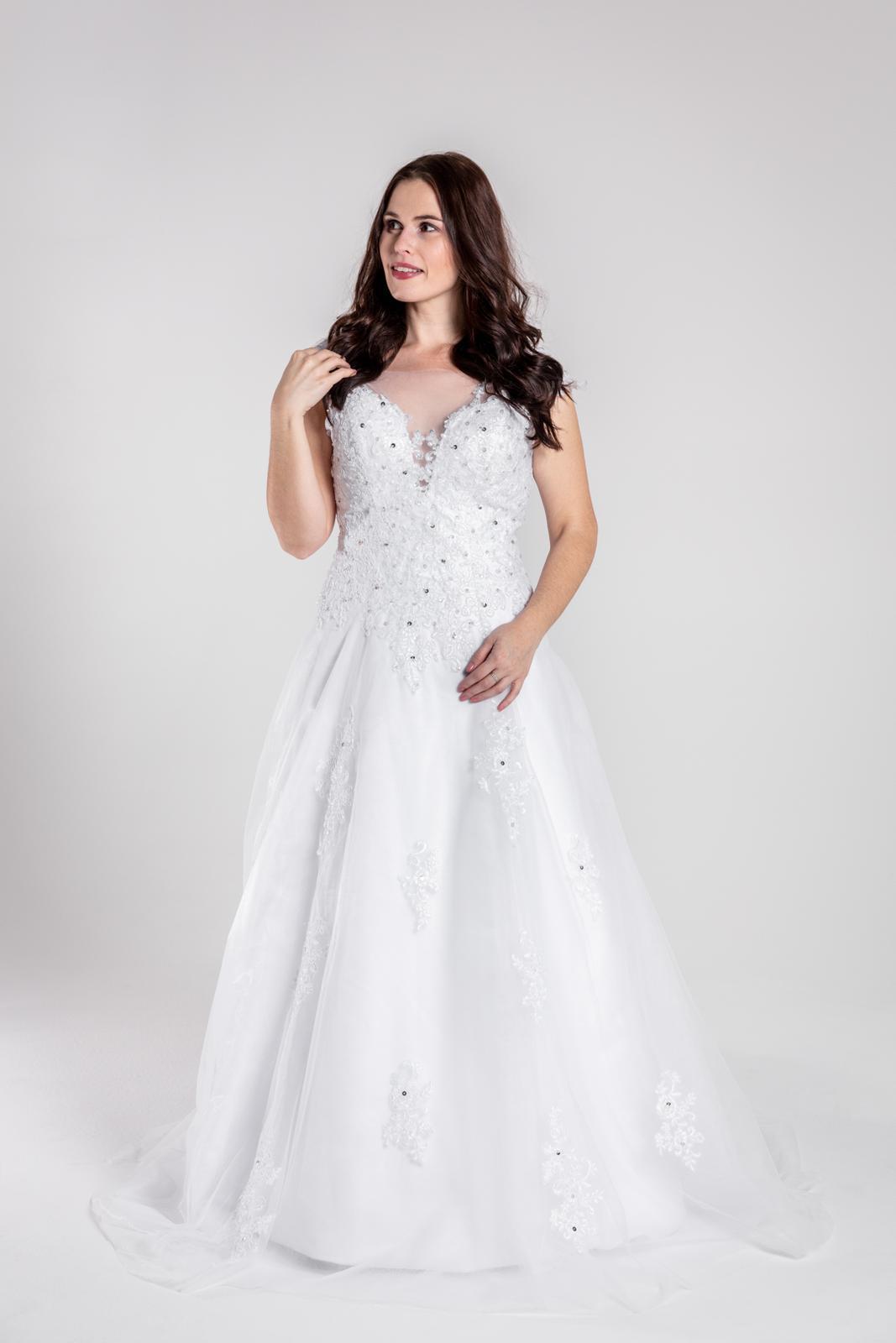 Krajkované svatební šaty, vel 44-46 - Obrázek č. 1
