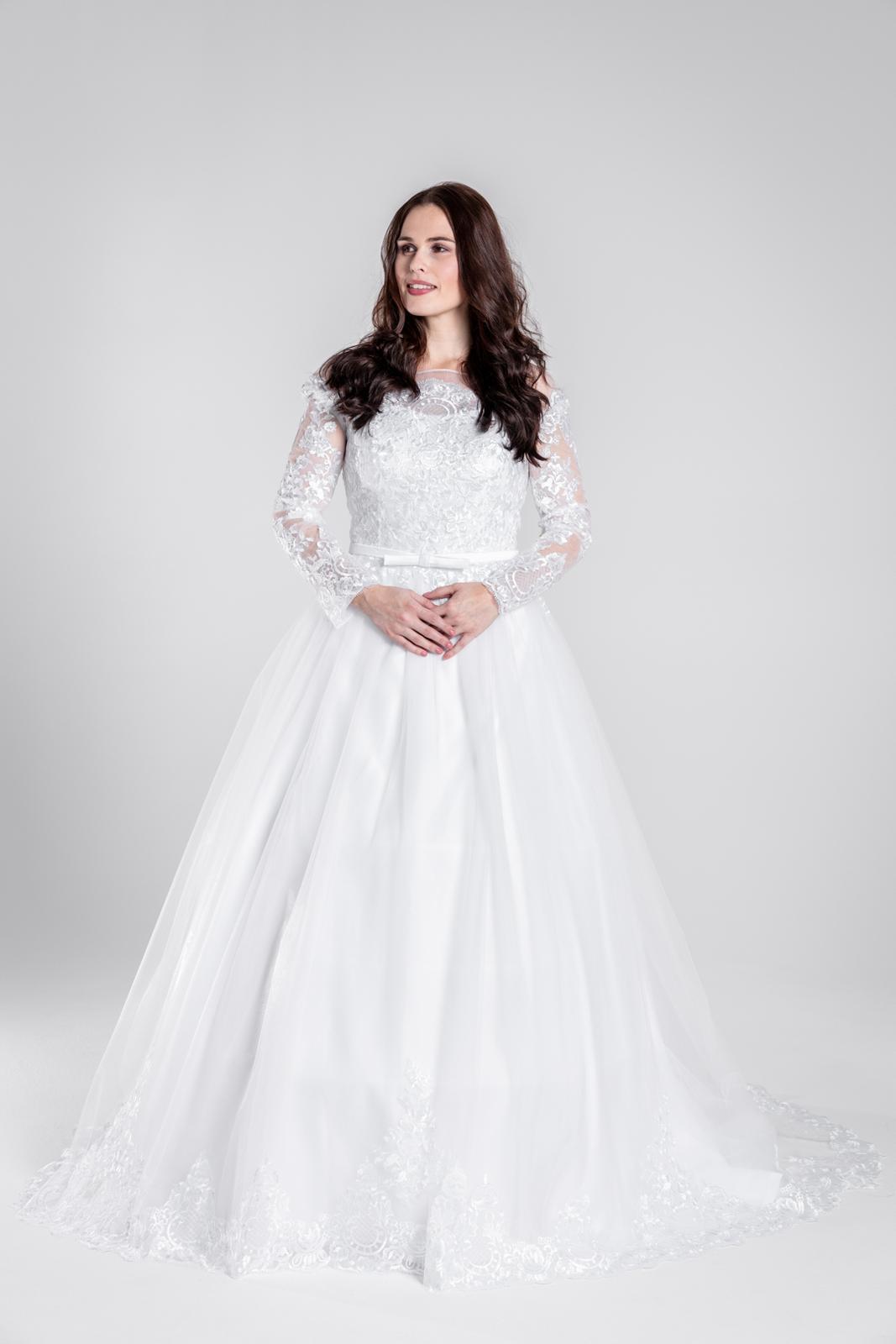 Svatební šaty s dlouhými rukávy, šněr. VEL 40-46 - Obrázek č. 1