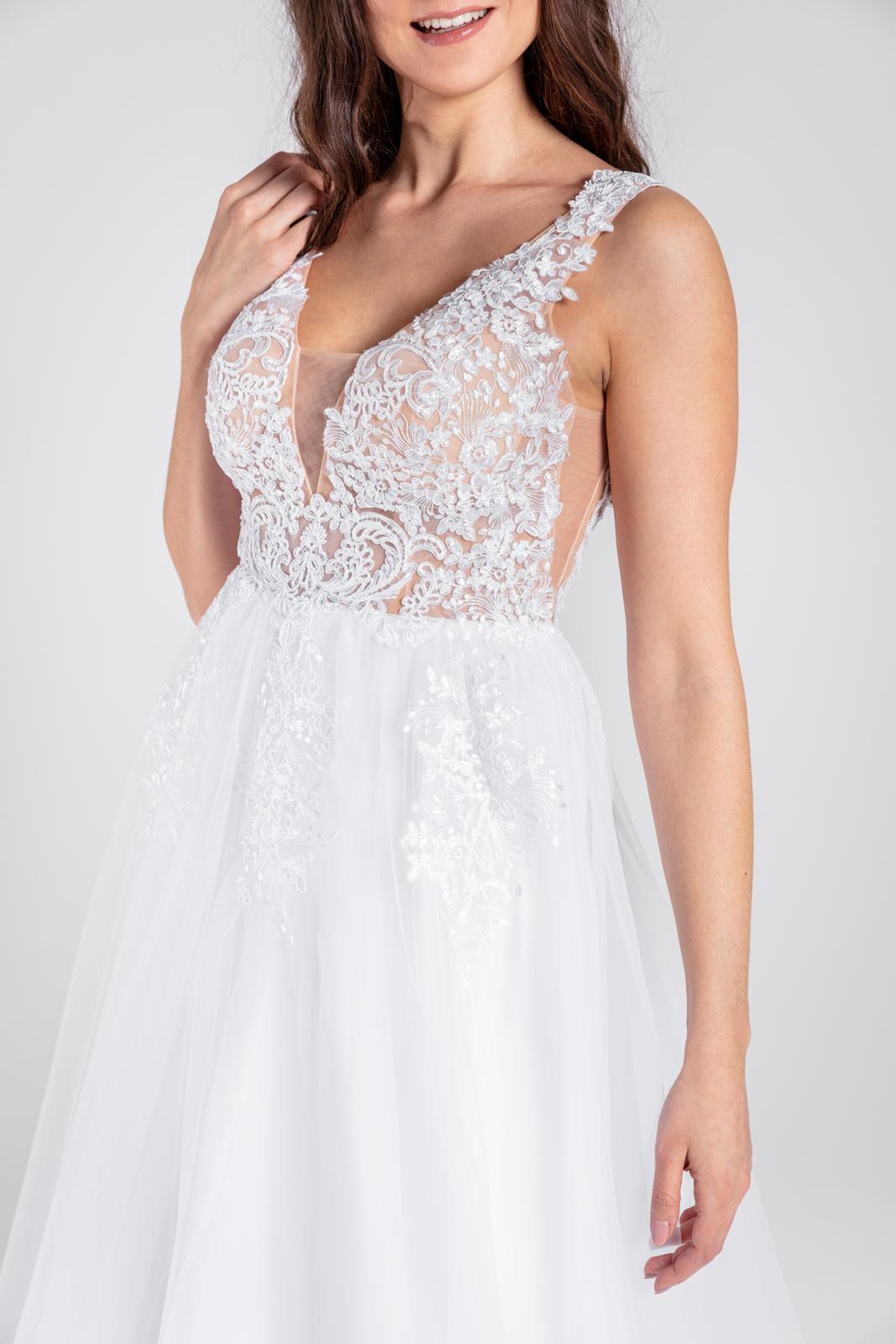 Krajkované svatební šaty, vel 36-38 - Obrázek č. 1