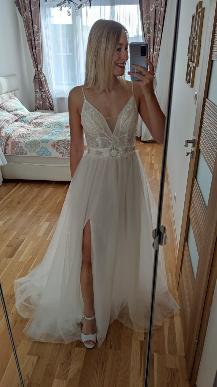 Boho svatební šaty s rozparkem, VEL 36-38 - Obrázek č. 1