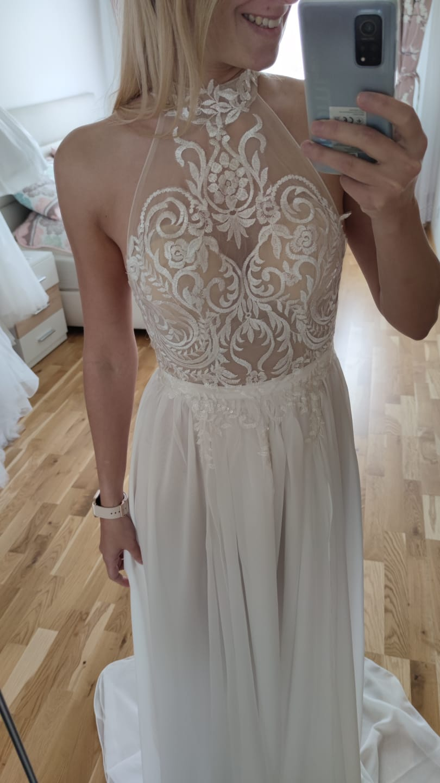 SEXY svatební boho šaty s rozparkem, vel 36 - Obrázek č. 1