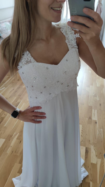 Těhotenské svatební šaty, vel 38-40 - Obrázek č. 1