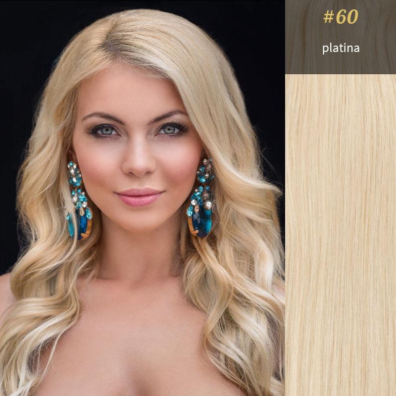 Clip in vlasy 10 ks, 120 g, 50 cm, platina #60 (světlá přírodní blond) - Obrázek č. 2