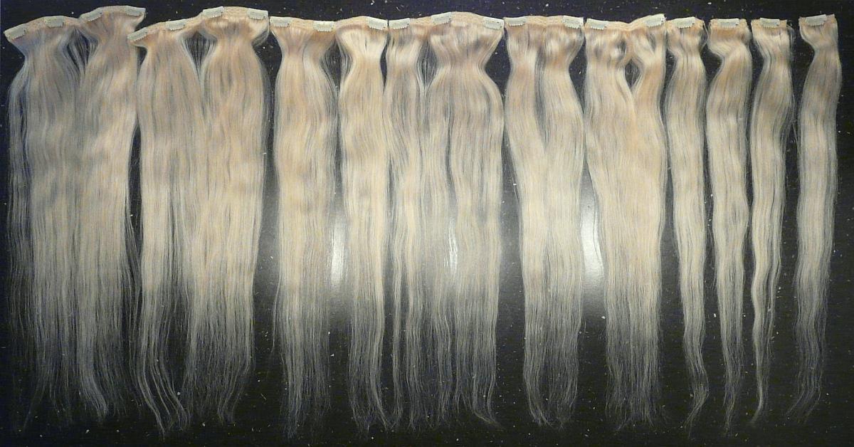 Clip in vlasy 10 ks, 120 g, 50 cm, platina #60 (světlá přírodní blond) - Obrázek č. 3