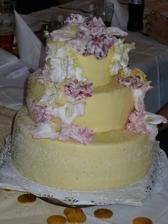 náš navržený dort, každé patro bylo z jiného těsta a jiné náplně... kytky jsou živé vlastnoručně je dotvořil můj manžílek... to je, ale šikulka :o)