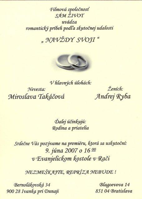 Mima{{_AND_}}Andy - svadobné oznámenie, tiež trošku netradičné