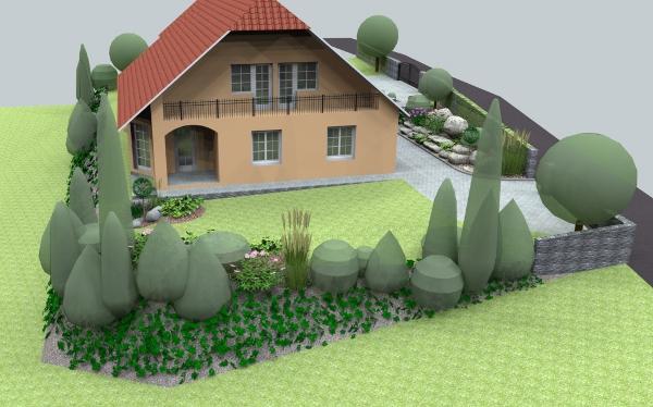 jankobrunko - Rozsiahly návrh záhrady rodinného domu s návrhom altánka a dekoračného obkladu. Chlebnice.