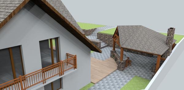 jankobrunko - Prípadová štúdia riesenia oporných múrov, schodiska a prístrešku s letnou kuchyňou.