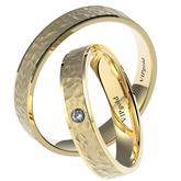 Svadobné obrúčky ručne tepané 7435 - žlté zlato