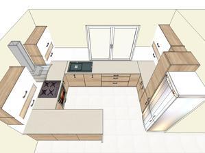 návrh kuchyne dub bardolino/biela lesklá