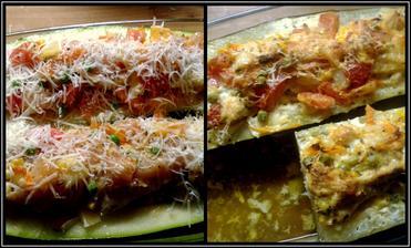 Zapečené cuketky se směsí zeleniny a kuřecího masíčka...
