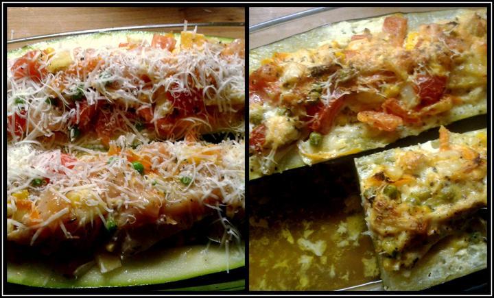 V kuchyni? - Zapečené cuketky se směsí zeleniny a kuřecího masíčka...