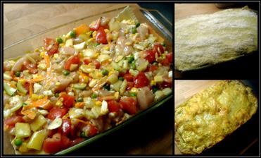 Zbytek směsi druhý den s lasagnemi na vrchu s curry-bylinkovým bešamelem