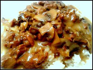 hovězí na houbách s rýží, to dost můžem...