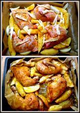 kuře a brambory pečené v papilotě..