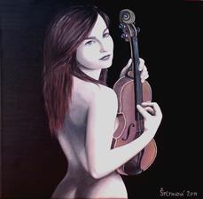 Opojená hudbou - akryl na plátne