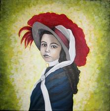 Dievčatko s brošňou - akryl na plátne
