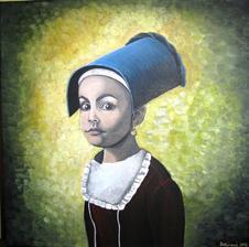 Dievčatko s náušnicou - akryl na plátne