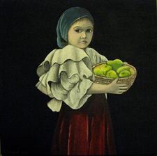 Dievčatko s ovocím - akryl na plátne