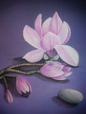 magnólia - akryl na plátne