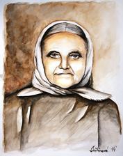 Stará mama - akvarel