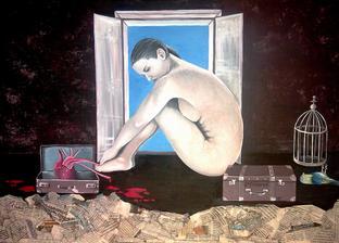 Neutečieš - akryl na plátne