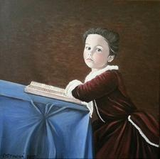 Malá čitateľka - akryl na plátne