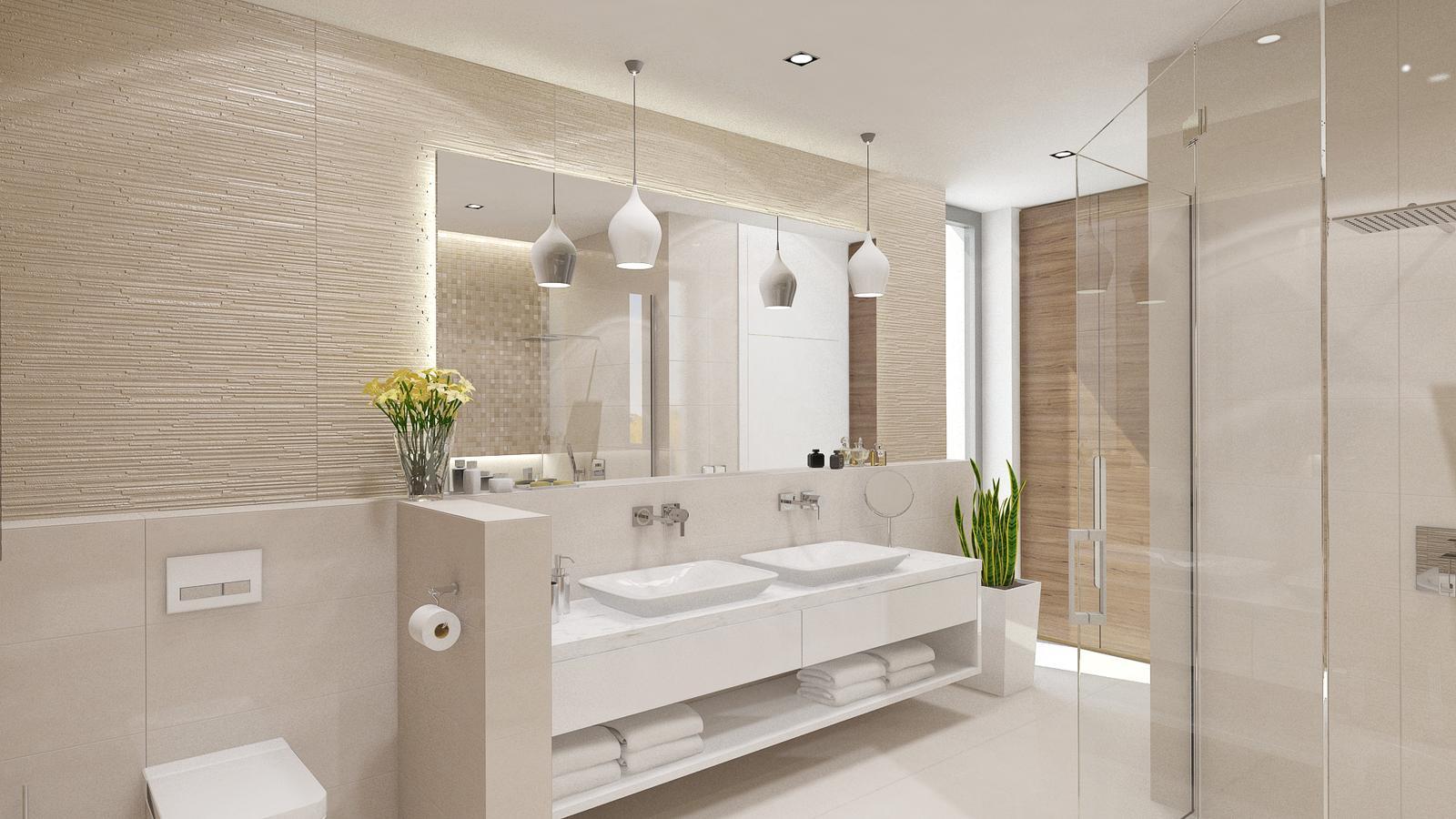 Koupelny - prostorna koupelna - dve umyvadla, vana, sprchovy kout a WC