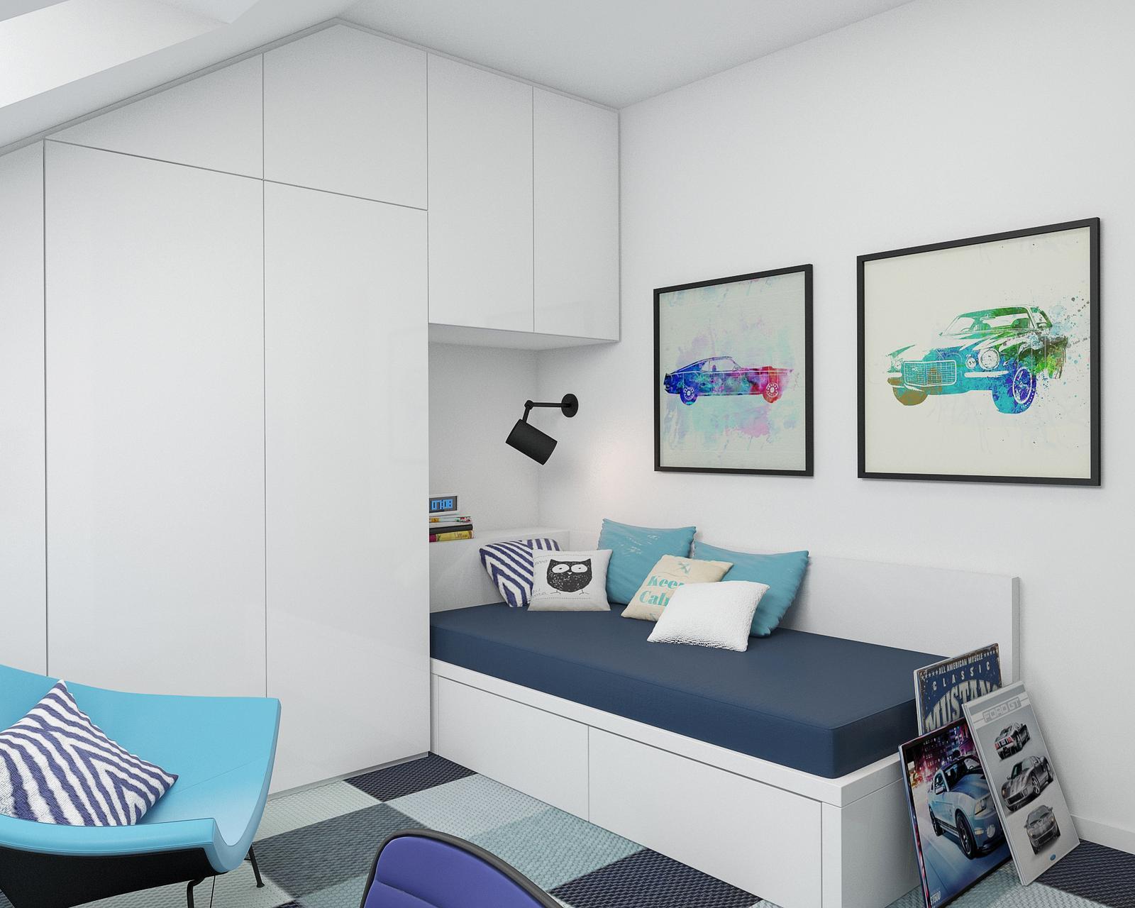 STUDENTSKÝ POKOJ - studentský pokoj - pohled na postel a šatní skříň