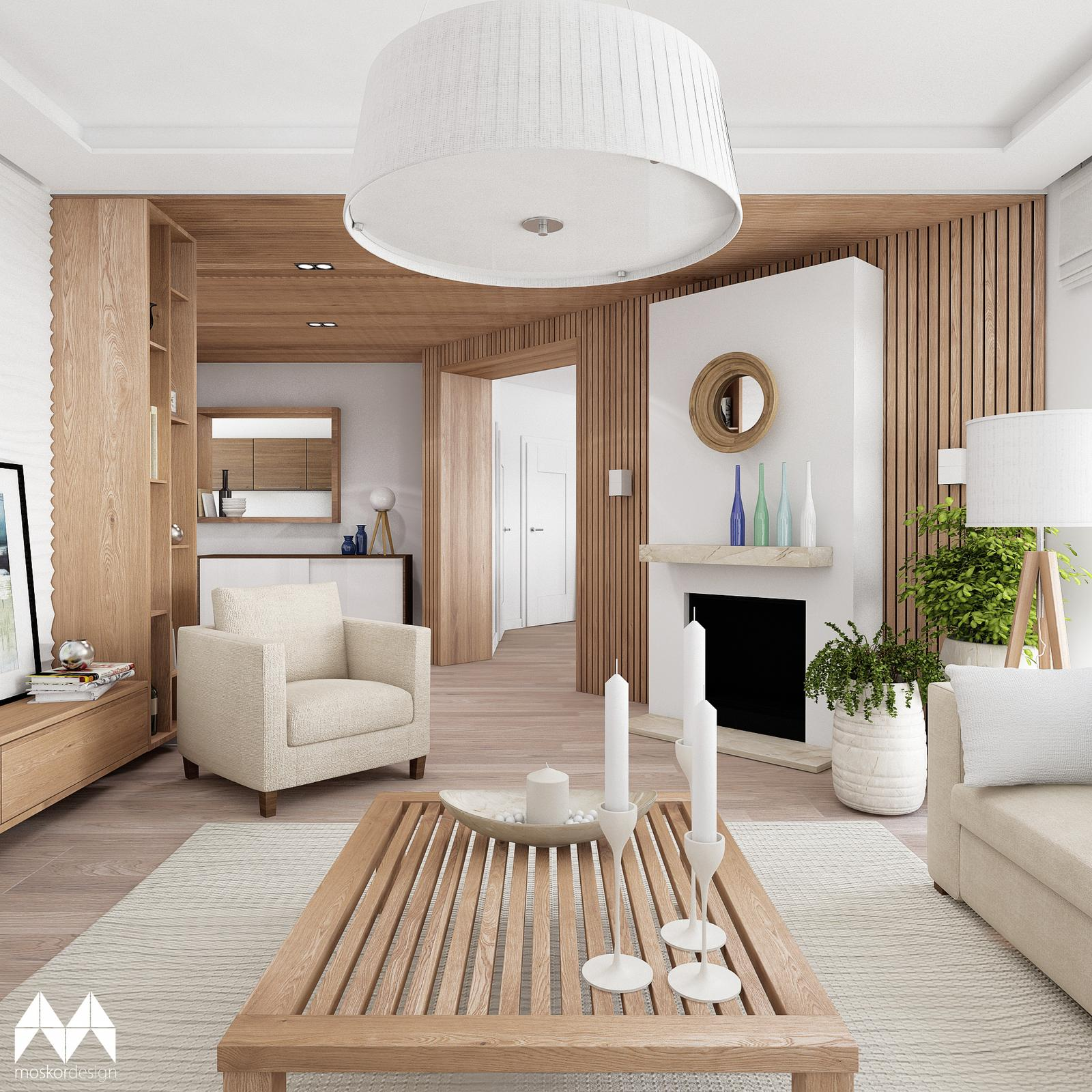 REKONSTRUKCE INTERIÉRU - obývací pokoj a jídelna - obývací pokoj - dřevéný obklad a jednoduchý krb