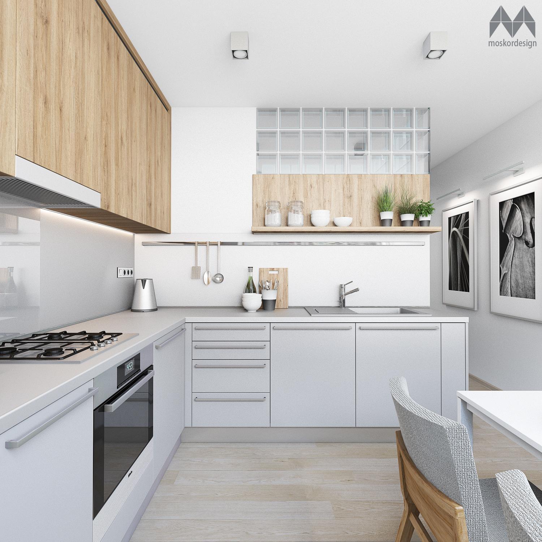 KUCHYNE v panelovem dome - Sklobetonovy svetlik propousti denni svetlo z kuchynskeho okna do koupelny a nasledne take do vstupni chodby