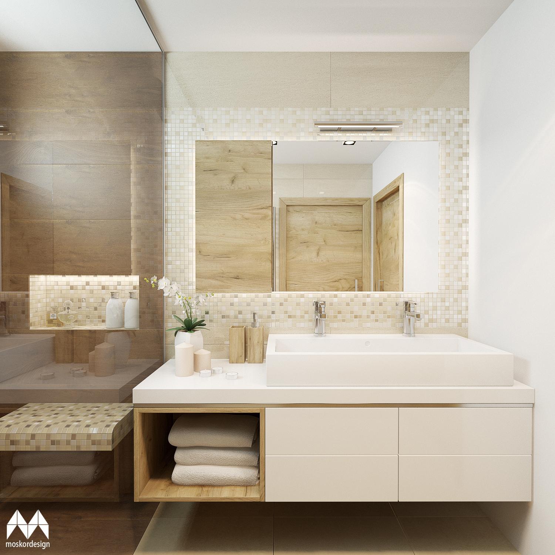 Moderní světlá koupelna s nádechem luxusu - dvojumyvadlo, skříňka, mozaika kolem zrcadla
