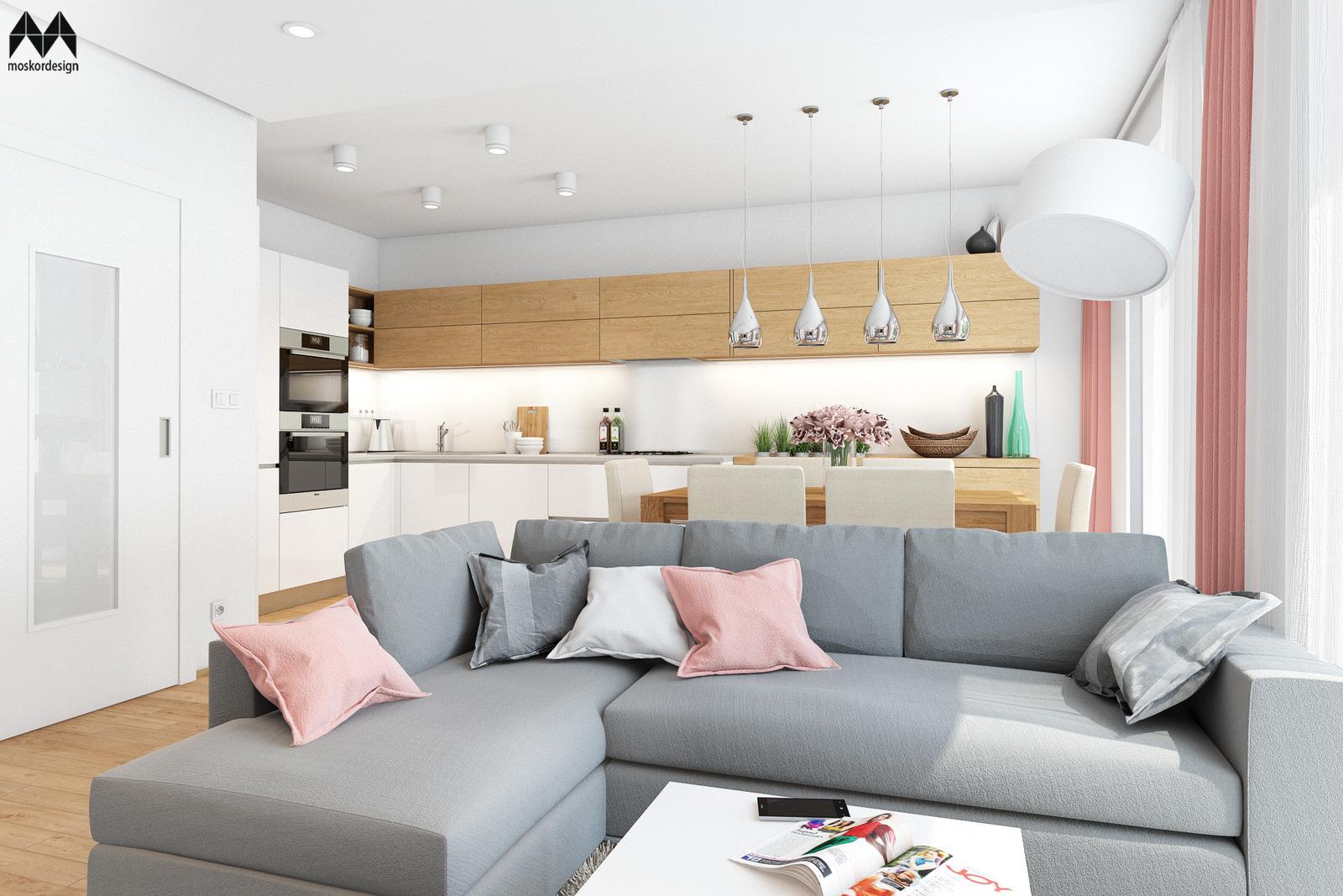 Interiér s růžovou ... - šedá sedačka v obývacím pokoji