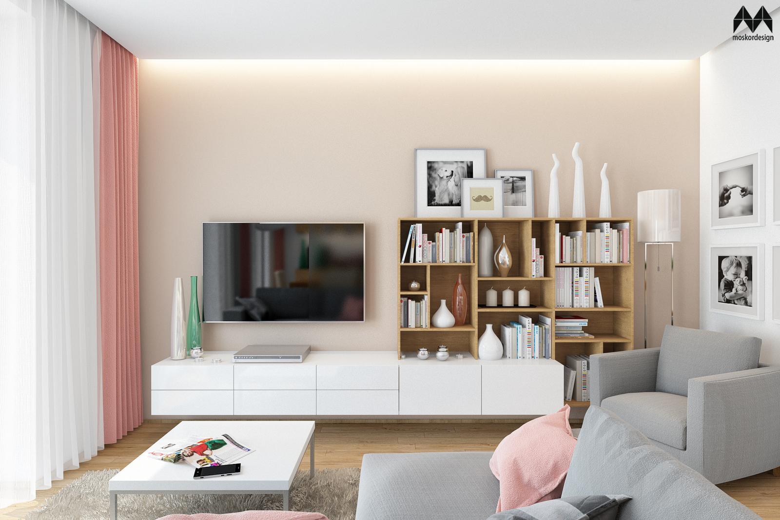 Interiér s růžovou ... - pohled na TV sestavu v obývacím pokoji