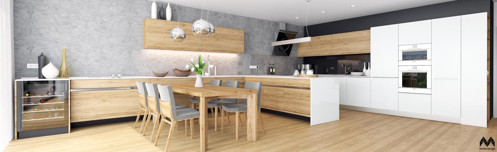 Byt Panorama - obývací pokoj s kuchyní s jídelní částí