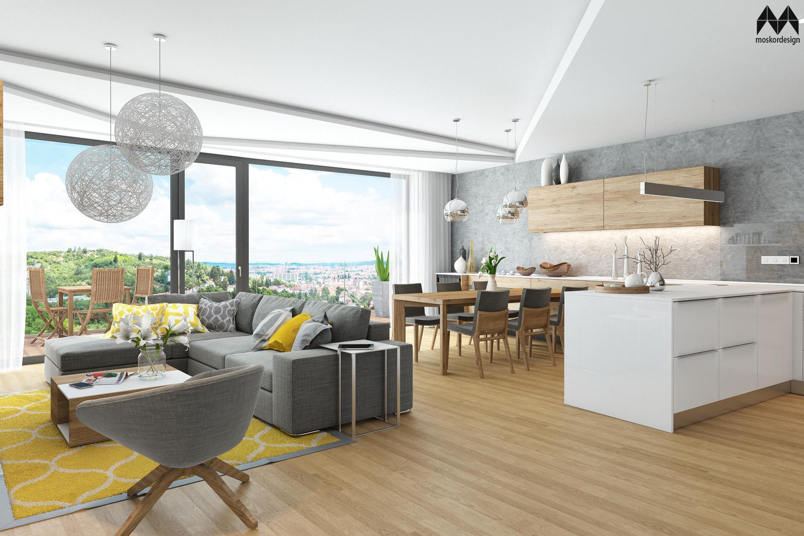 Byt Panorama - obývací pokoj s krásným výhledem