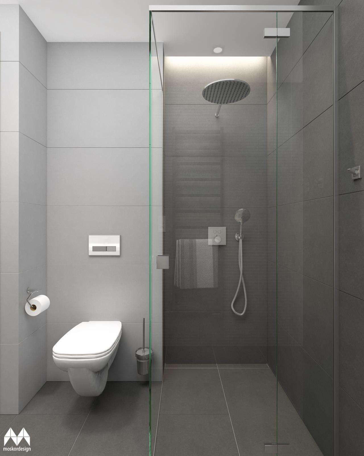 Rekonstrukce domu pro mladého muže - koupelna - pohled na sprchovy kout