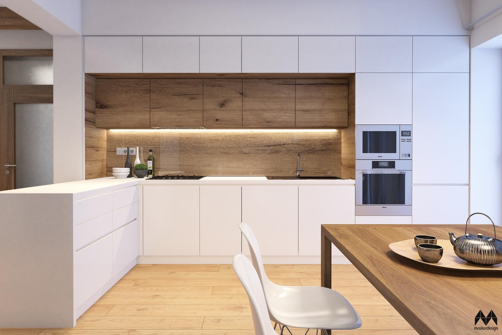 Rekonstrukce domu pro mladého muže - nocni pohled na kuchyni