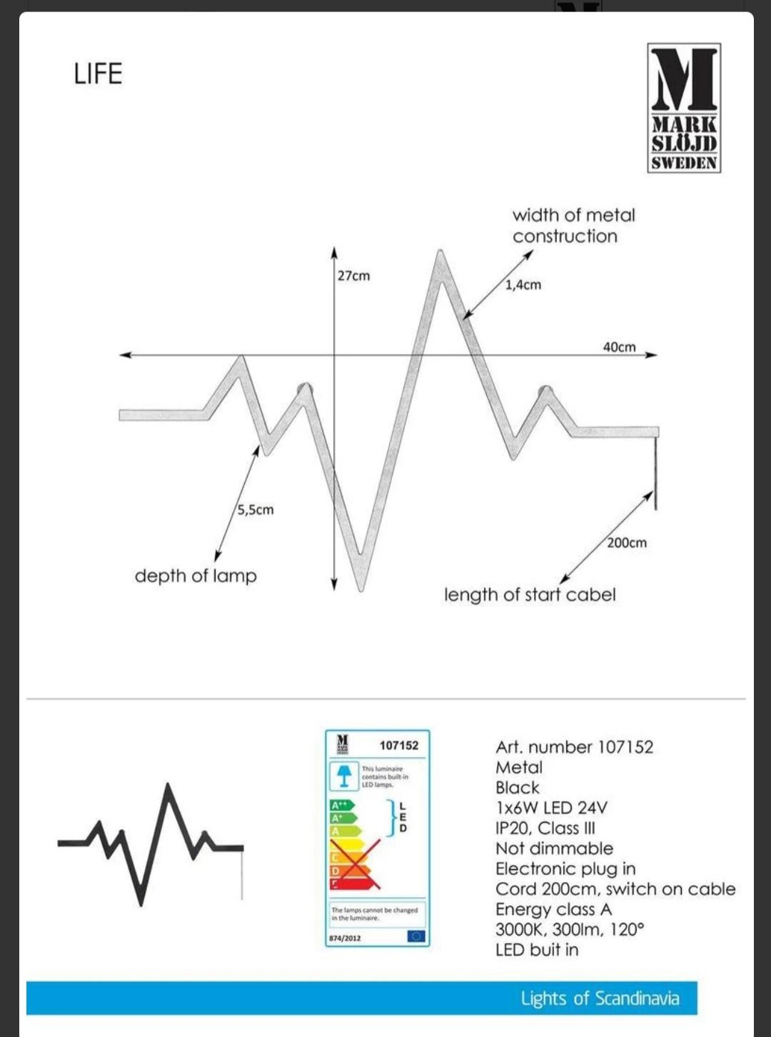 LIFE černé nástěnné svítidlo 40cm EKG - Obrázek č. 2