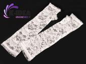 Rukavice čipkované bez prstov - biele 33cm,