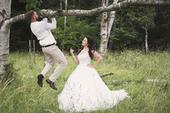 Krajkové svatební šaty z Elody, tělový korzet, 36
