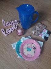 Růžové love z mobelixu, konvice na vodu, kamínky, stuhy