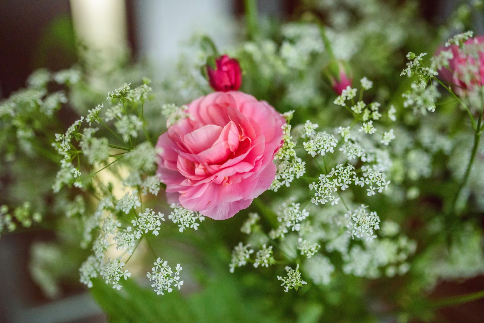 Moje kvetinové aranžmány - Divá mrkva (Queen Anna's Lace) - u nás na Slovensku nedocenená a považovaná za burinu, pretože vo voľnej prírode rastie v hojnom počte. V kombináciách s kvetmi krásne vynikne. Ja by som ju svojim zjavom prirovnala ku gypsomilke