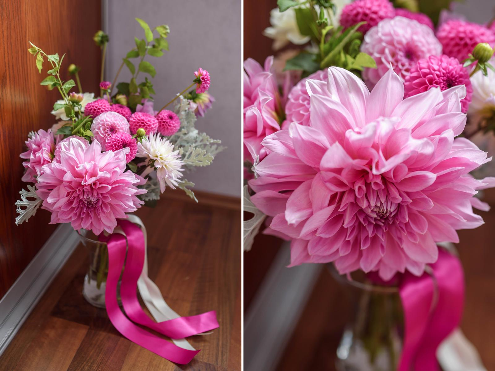 Moje kvetinové aranžmány - Romantická ružová pristane každej nevestičke :) Dahlia Lavender Perfection <3