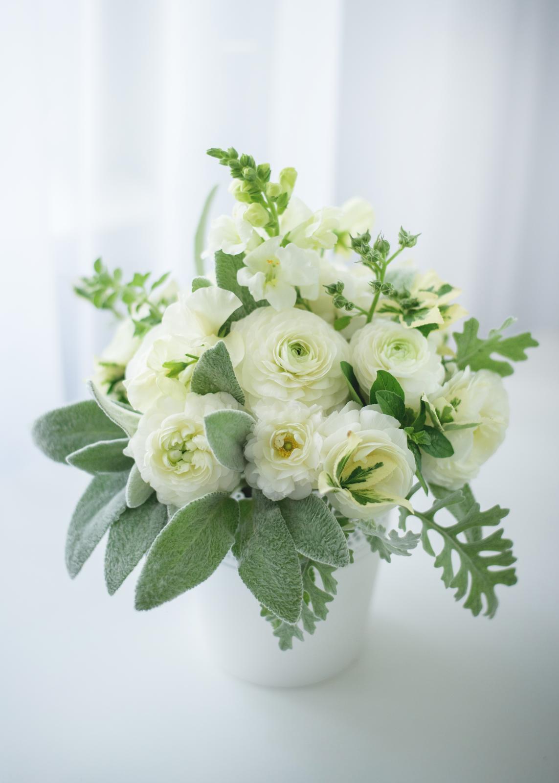 Moje kvetinové aranžmány - Biele iskerniky, papulky, jahnacie usko, starcek