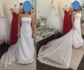Jednoduché šaty s dlouhou vlečkou, vel.36-38, 36